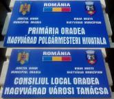 A treia cu noroc: Primăria Oradea are, în sfârşit, tăbliţă bilingvă scrisă corect şi-n ungureşte