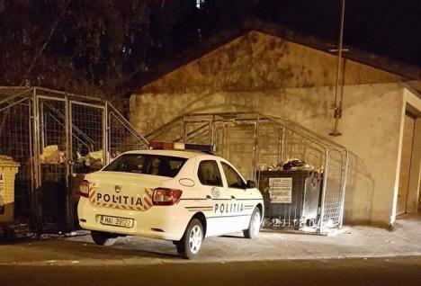 'Bizon' cu caschetă: O maşină de Poliţie a blocat accesul la două ţarcuri de gunoi
