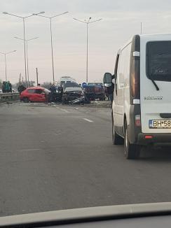 Circulaţie blocată pe Centură: Accident cu 4 maşini în apropiere de sensul giratoriu spre Sîntandrei (FOTO / VIDEO)