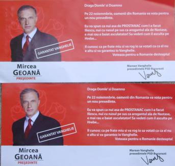 Orădenii au primit scrisori din partea lui 'Marean Vanghelie', care îl 'garantează', cu greşeli gramaticale, pe candidatul PSD la Preşedinţie