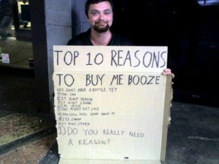 Replică de cerşetor: 'De ce să mint! Am nevoie de o bere'