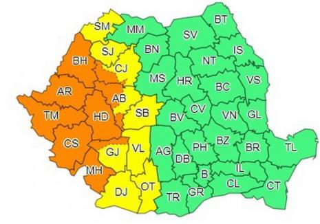 Vreme extremă în weekend: Cod portocaliu de furtuni, în Bihor!