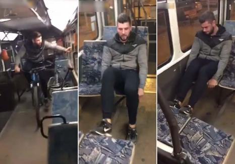 Şmecheri de Oradea: Un grup de tineri, filmat în timp ce vandalizează un tramvai: 'Rupe-l, bă!' (VIDEO)