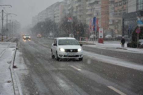 Oradea albă: Ninsoarea viscolită a scos utilajele RER pe străzi (FOTO)