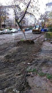 Ne enervează: Mocirla făcută de constructorii locurilor de parcare din strada Mihail Sadoveanu (FOTO)