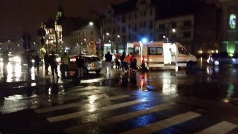 Orădean lovit pe trecerea de pietoni, în Piaţa Unirii ( FOTO / VIDEO)