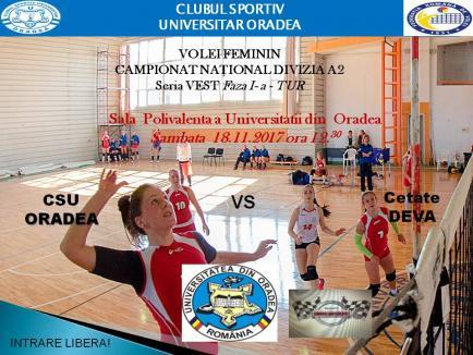 Voleibalistele de la CSU Oradea joacă sâmbătă, pe teren propriu, cu Cetate Deva