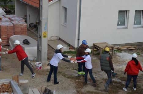 Patru locuinţe în 10 zile! Peste 200 de voluntari orădeni au ridicat case pentru sărmani (FOTO)