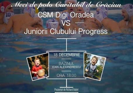 Pentru Vladimir: Meciul caritabil de polo dintre CSM Digi şi Progress Oradea va avea loc luni, de la ora 18