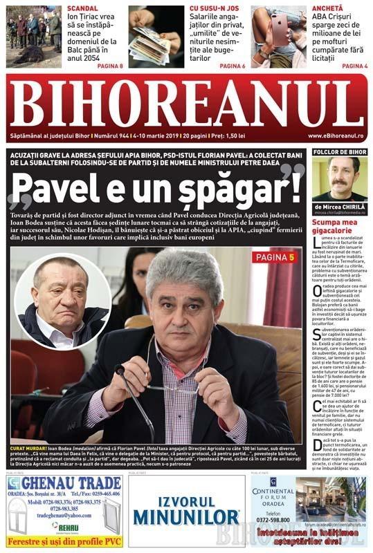 Nu ratați noul BIHOREANUL tipărit: Șeful APIA, Florian Pavel, este acuzat că a colectat șpăgi de la angajați