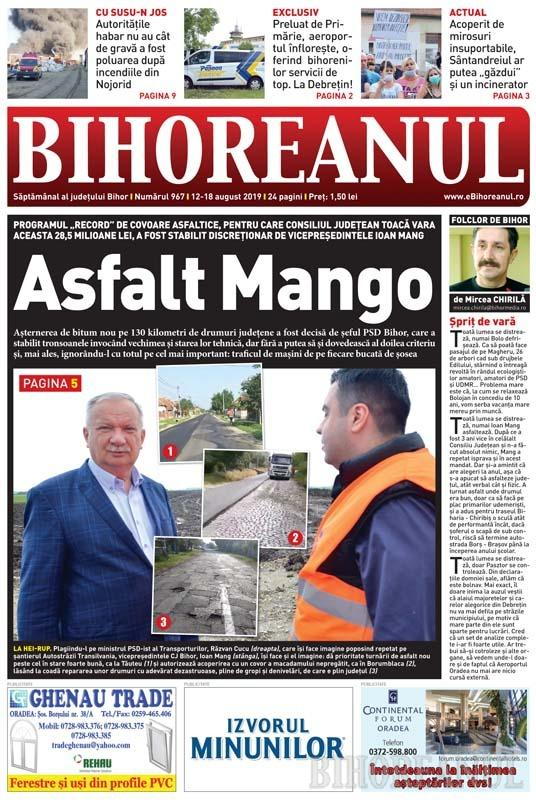 Nu rataţi noul BIHOREANUL tipărit: Programul record de covoare asfaltice în Bihor, stabilit discreţionar de şeful PSD, Ioan Mang