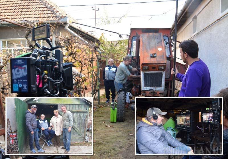 ATENŢIE, MOTOR… La finalul săptămânii trecute, strada Avram Iancu din Salonta a fost închisă parţial, astfel încât echipa lui Marian Crişan să poată instala camioanele, echipamentele şi panourile de lumină asupra curţii unui localnic, unde s-a filmat o scenă între tractoristul Viorel şi politicianul Mocanu. Regizorul a observat totul, pe ecrane, dintr-o magazie...