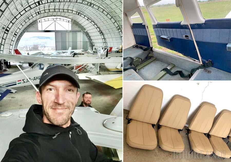 LA MUNCĂ. Printre clienţii celor trei orădeni se numără şi proprietarul aerodromului din Ineu, David Nagy Molnar. În uriaşul hangar, avioanele sunt desfăcute bucată cu bucată. Scaunele ajung în atelierul lui Cornel (foto background), unde tapițeria veche este înlocuită cu alta nouă, din piele premium. În acest timp, interiorul avionului este refăcut de Ovidiu (foto principal), iar Şerban se ocupă de caroseria exterioară