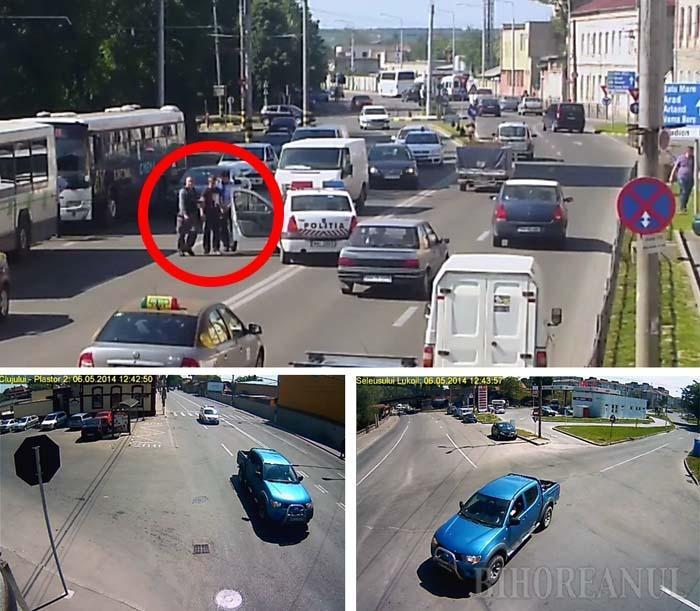"""BIG BROTHER DE AJUTOR. După apelul prin 112, poliţiştii l-au identificat pe Marian Lele, pe camerele de supraveghere, în doar 2 minute, dar prinderea sa a durat peste 4 ore. Imaginile îl surprind la volanul autoutilitarei pe Calea Clujului, pe Seleuşului şi la Gară, unde s-a suit în taxiul din care în cele din urmă a şi fost """"săltat"""""""