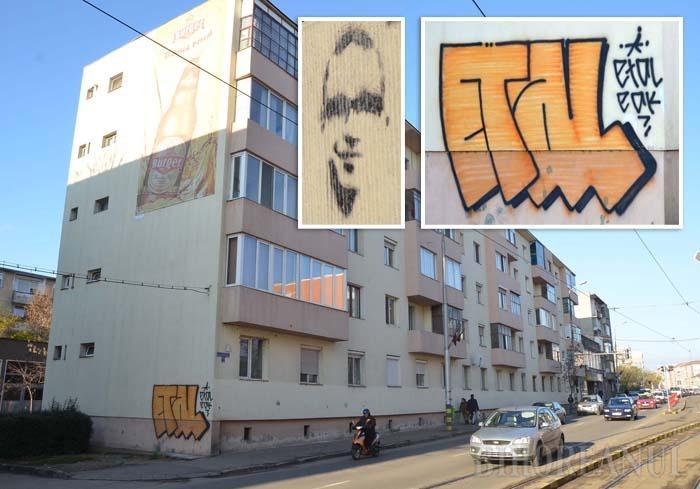 """VANDALISM SAU ARTĂ? După ce acum trei ani un tânăr de bani gata a """"ştampilat"""" zeci de clădiri din centrul oraşului cu propriul său """"Muian"""", de-o vreme un necunoscut ce-şi spune ETAL se """"iscăleşte"""" cu spray pe unde apucă, inclusiv pe recent renovatul bloc din Bd. Decebal 25"""