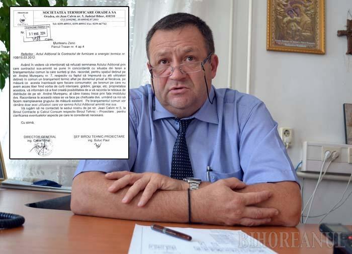 """CA PRIMARU'. Sub semnătura directorului Mihai Cabai (foto), societatea Termoficare i-a cerut orădeanului Zeno Munteanu să accepte că va rămâne fără apă caldă şi căldură dacă vecinii cu care împarte reţeaua nu-şi plătesc facturile. Pentru că n-a fost de acord cu clauza abuzivă, omul a fost ameninţat că va fi debranşat! """"Am semnat ca primarul"""", îşi scuză Cabai gafa, recunoscând că nu are niciun motiv legal să sancţioneze un client care îşi achită """"consumaţia"""""""