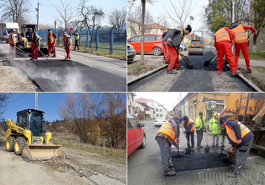 """VALUL DE ASFALT. Drumarii au început plombarea gropilor din asfalt pornind din zona centrală, pe străzi ca Avram Iancu sau Ady Endre, apoi înspre spre cartierele mărginașe. Săptămâna trecută, muncitorii acopereau gropile din strada Făcliei, reparau trotuarele din strada Călugăreni și încercau să facă practicabile străzi pietruite din zona Podgoria, precum Teleki Mihály. """"Sperăm ca în câteva săptămâni să terminăm"""", spune viceprimarul Marcel Dragoș"""