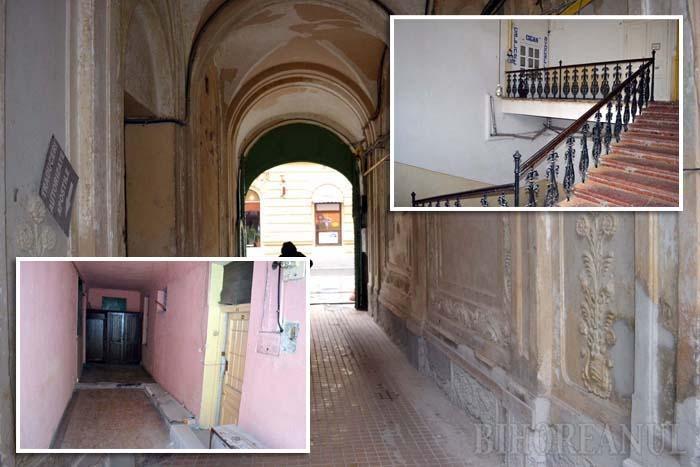 """""""MÂNCATE"""" ÎNĂUNTRU. Arătoase pe dinafară, palatele Stern şi Vulturul Negru, la fel ca imobilul din strada Republicii 13, au curţile degradate şi interioarele neîngrijite"""
