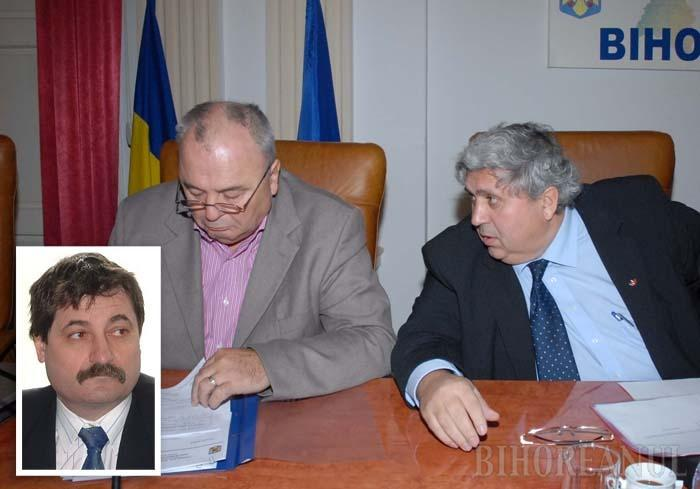 CA PE MOŞIA LOR. Fost vicepreşedinte al CJ între 2000-2004, la fel ca liderul udemerist, PSD-istul Teodor Ferician (medalion) a livrat DNA o mărturie grea împotriva lui Alexandru Kiss (dreapta), incriminându-l, însă, şi pe preşedintele Ştefan Seremi (stânga). Cei doi, a dezvăluit Ferician, stabileau de comun acord firmele care trebuiau să câştige licitaţiile