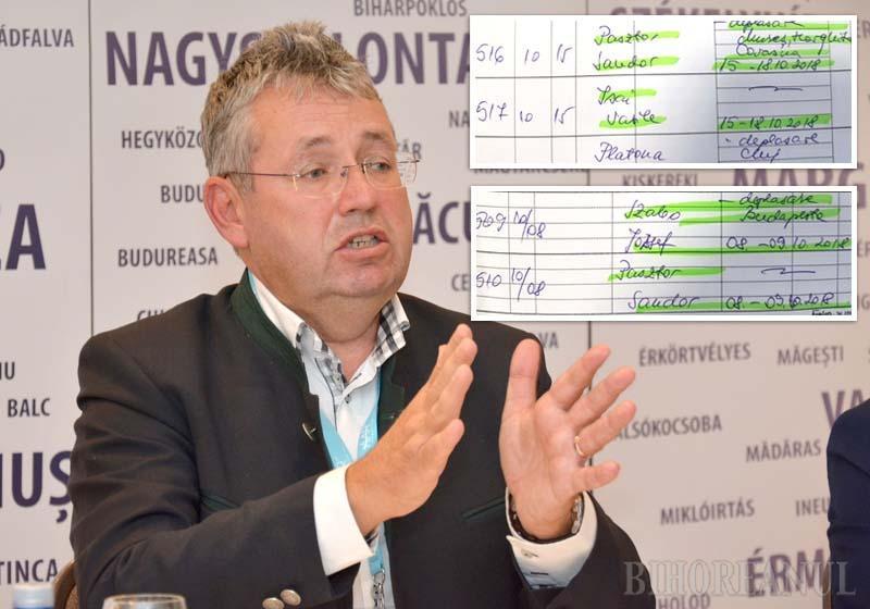 Conform site-ului CJ Bihor, Pásztor Sándor (foto) a avut în octombrie 2018 o singură delegaţie, la Salzburg, pentru 7 zile, dar registrul de deplasări al instituţiei demonstrează că în realitate a avut trei. O vizită de 2 zile a făcut-o la Budapesta, iar alta de 4 zile în Mureş, Harghita şi Covasna (facsimil), cu maşina de serviciu şi cu şofer