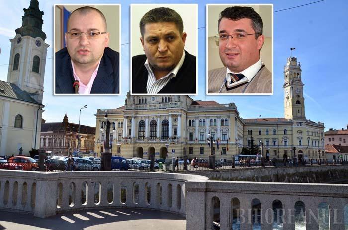 """DE 3 X PNL. Directorii Mircea Oaie, Cristian Beltechi şi Eduard Florea (de la stânga la dreapta) şi-au luat subit carnete de partid, dar Ilie Bolojan afirmă că total dezinteresat. """"A fost alegerea lor, şi să nu credeţi că îi avantajează în vreun fel. Faptul că au ales să se înscrie în PNL îi obligă să lucreze şi mai mult"""", spune primarul"""