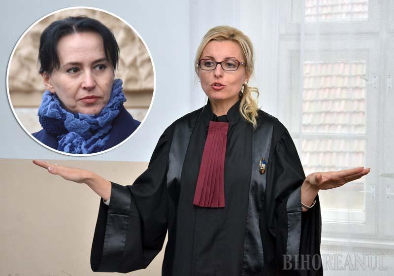 """FAŢĂ ÎN FAŢĂ. Judecătoarele Carmen Domocoş (foto) şi Crina Muntean (medalion) au condus împreună instanţa în perioada 2014-2017, prima ca preşedintă, cealaltă ca vicepreşedintă. Reinstalată cu greu la şefie, după ce la primul concurs fusese notată cu 4, Domocoş a început cu... """"reorganizarea"""" fostei colege"""