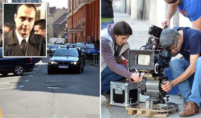 """MOTOR, ACŢIUNE! În 17 şi 18 martie, pe o străduţă lăturalnică, ferită de ochii lumii, de lângă Teatru, echipa de filmare surprindea scena celebrei percheziţii de la Oradea din 2002, conduse de procurorul Cristian Panait (medalion), care s-a sinucis mai apoi, la puţin timp după ce şefii săi i-au luat """"dosarul Lele"""""""