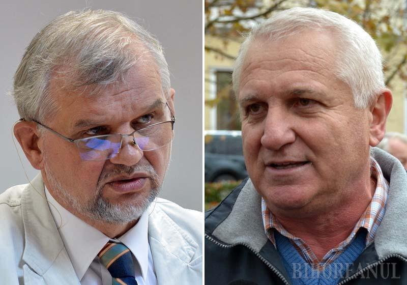 """LUMINI ŞI UMBRE. Şeful Casei de Pensii Bihor consideră că principala calitate a viitoarei legi e că dă întâietate principiului contributivităţii. """"Primeşti pensie după cât contribui"""", explică Szarka Arpad (stânga). Liderul BNS Bihor, Nicolae Morgovan (dreapta), se îndoieşte, fiindcă salariatul nu are siguranţa că angajatorul îi virează la fondul asigurărilor sociale contribuţiile reţinute"""