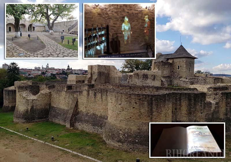 """MĂRIMEA (NU) CONTEAZĂ. Deşi Cetatea Sucevei e considerabil mai mică atât văzută din afară, cât şi din curtea interioară, istoria îi este prezentată interactiv, cu holograme înfăţişând vechi oşteni şi domnitori, dar şi cu o carte-video pe care fiecare vizitator o poate """"răsfoi"""" în ritmul propriu, acţionând un simplu buton"""