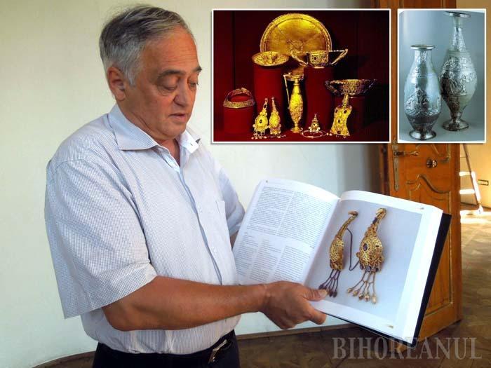 """PREGĂTIRI. Expoziţia """"Aurul şi argintul antic al României"""" va fi amenajată la Secţia de Artă a Muzeului Ţării Crişurilor, în 6 săli, unde obiectele vor fi expuse în vitrine speciale, spune Aurel Chiriac (foto). Între exponate se va număra atât o parte din Tezaurul de la Pietroasa (judeţul Buzău), popular sub numele de """"Cloşca cu puii de aur"""" (foto sus stânga), cât şi vasele romano-bizantine de la Tăuteni de Bihor (foto dreapta)"""