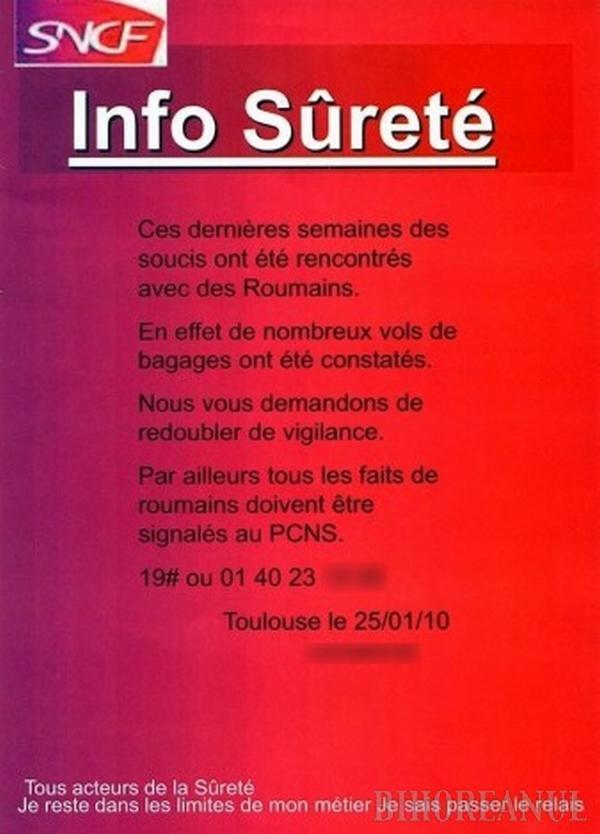 Afiş oficial în Franţa: Feriţi-vă de hoţii de bagaje români!