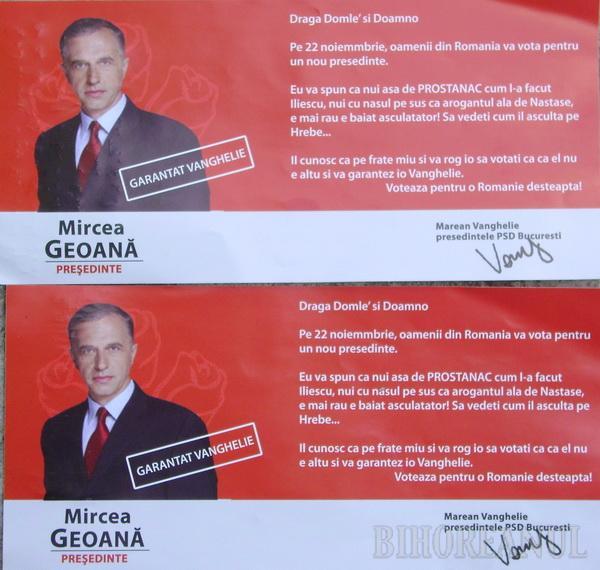 Orădenii au primit scrisori din partea lui Marean Vanghelie, care îl garantează, cu greşeli gramaticale, pe candidatul PSD la Preşedinţie