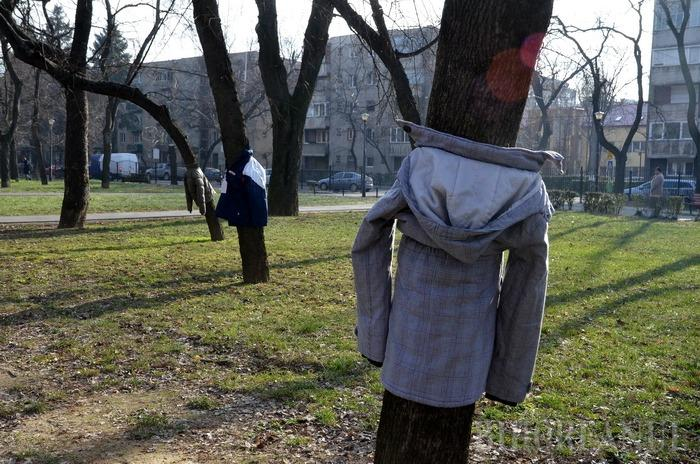 Copaci îmbrăcaţi: Două tinere îi îndeamnă pe orădeni să lase în copaci haine groase pentru săraci (FOTO)