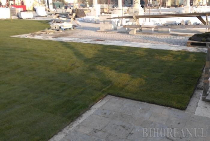 Au fost plantate primele rulouri de gazon în Piaţa Unirii (FOTO)