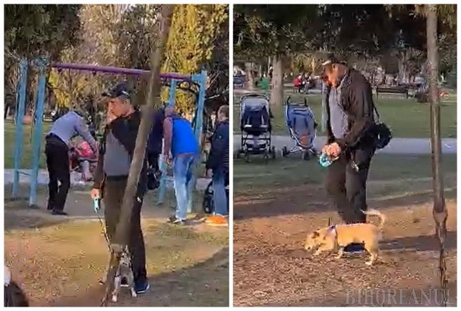 """""""Ţăran"""" de Oradea: Scuipă coji de seminţe pe jos, într-un loc de joacă unde a intrat ilegal cu câinele (VIDEO)"""