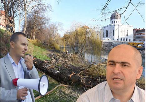 """CINE LE """"ÎNFLOREŞTE""""? Din sfetnic al primarului Ilie Bolojan (medalion dreapta), ecologistul Orlando Balaş (medalion stânga) a devenit unul dintre cei mai vocali contestatari ai acestuia. Luna trecută, a şi iniţiat un protest împotriva administraţiei liberale, pe care o critică pentru politica de """"chelire"""" a spaţiilor verzi şi de """"umflare"""" a evidenţelor acestora"""