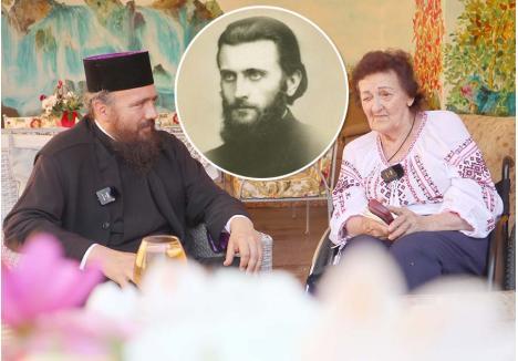 """LA POVEŞTI. Izvor nesecat de poveşti şi amintiri, frumoase şi dureroase deopotrivă, Zoe Dăian (dreapta), nepoata călugărului Arsenie Boca (medalion), este vizitată des de prieteni, cunoştinţe, dar şi de străini, care vor s-o cunoască mai mult pentru a le povesti de Părinte. Printre prietenii apropiaţi se numără şi stareţul mănăstirii Izbuc, Mihail Tărău (stânga), unde ea şi-a petrecut o parte din bătrâneţe. L-a cunoscut în circumstanţe neobişnuite, acum 10 ani, când a fost prima oară la Izbuc. """"În timpul slujbei, aveam impresia că îl aud pe Arsenie. Am intrat în biserică, am mers până la altar, călugării din cor au strigat să nu cumva să intru. I-am întrebat cine slujeşte şi mi-au spus că e stareţul""""..."""