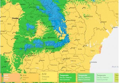 CA-N VECINI. Harta simulată prezentată de National Geographic arată că, din perspectivă climatologică, Oradea va semăna mai mult cu oraşele din Ungaria decât cu cele din Transilvania. Oraşul de pe Crişul Repede se va afla într-o zonă de stepă aridă, diferită de cea din interiorul Carpaţilor