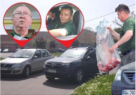 """CU SÂNGE, FĂRĂ SÂNGE... Provocat de BIHOREANUL să deschidă portbagajul maşinii de serviciu, în care dosise """"cadourile"""" de la pădurari, şeful Ocolului Silvic Oradea, Cornel Hulea (medalion stânga), s-a urcat la volan şi a tulit-o în grabă, urlând la pădurarul Nicolae Rotaru (medalion dreapta), abia sosit de la Apateu cu mielul pentru don' şef, să fugă şi el... Pădurarul Florian Berea din Cordău (foto dreapta) a apucat, însă, să-şi facă """"datoria"""": a livrat şpaga însângerată în incinta Ocolului"""