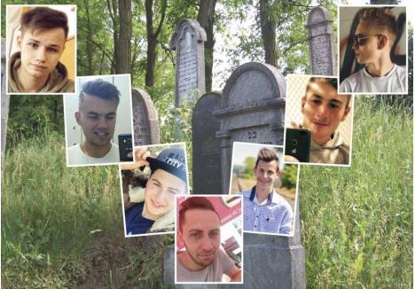 """ŞAPTE CRAI. """"Frate""""! Aşa îşi spun între ei Kosztin Dezső, Szücs János, Ursu Csaba, Békési János, Ökrös Szabolcs, Kovács Róbert şi Botyán Attila (în foto, unul după altul, de la stânga la dreapta), care după partida de sex în grup din cimitir s-au înfrăţit şi în dosarul penal ce-i poate face să ajungă chiar şi tovarăşi de închisoare"""