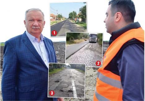 LA HEI-RUP. Plagiindu-l pe ministrul PSD-ist al Transporturilor, Răzvan Cucu (dreapta), care îşi face imagine poposind repetat pe şantierul Autostrăzii Transilvania, vicepreşedintele CJ Bihor, Ioan Mang (stânga), îşi face şi el imagine: dă prioritate turnării de asfalt nou peste cel în stare foarte bună, ca la Tăuteu (1) şi autorizează acoperirea cu un covor a macadamului nepregătit, ca în Borumblaca (2), lăsând la coadă repararea unor drumuri cu adevărat dezastruoase, pline de gropi şi denivelări, de care e plin judeţul (3)