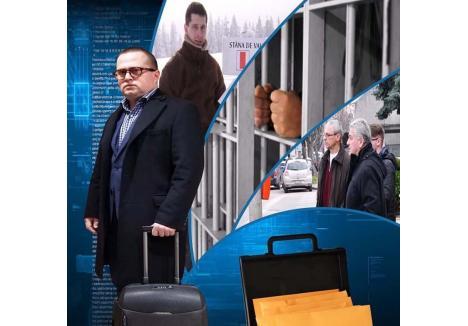 """BINSHLEAKS. Avocatul Răzvan Doseanu (foto stânga) a dezvăluit scandaloasa înregistrare ca parte a unui serial pe care l-a intitulat """"Binshleaks"""", cu trimitere atât la vestita organizaţie WikiLeaks, care dezvăluie documente provenite din scurgeri de informaţii, dar şi la locul de origine al fostului şef DNA Oradea, procurorul Ciprian Man (foto al doilea din stânga), căruia avocatul îi reproşează mai multe anchete abuzive (captură video)"""