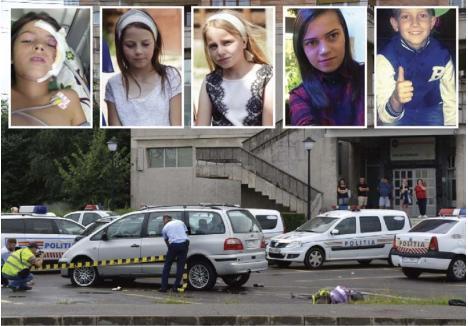 DRAMĂ MULTIPLICATĂ. Pe 28 iulie, în timp ce mergeau liniştite pe trotuarul din faţa sediului Poliţiei Rutiere Bihor, cele patru surori - Ligia (8 ani), Larisa (13 ani), Denisa (14 ani) şi Cosmina (21 de ani) -, în fotografii de la stânga la dreapta, au fost spulberate de o maşină cu număr străin, condusă nebuneşte de un etnic rom de 20 de ani, care anul trecut a mai avut permisul suspendat tot din pricina vitezei. O tragedie cu repetiţie pentru părinţi, după ce în toamna anului trecut fiul lor, Alex (ultimul din dreapta), a fost victima unui accident care l-a lăsat în stare vegetativă...