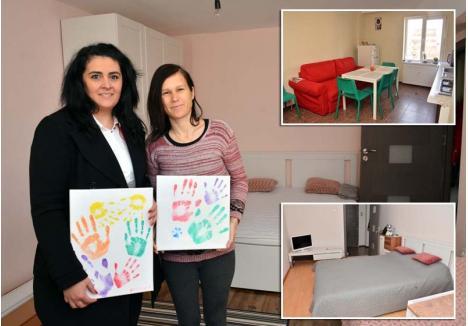 PUTERE DE FEMEIE. Apartamentul spaţios închiriat de Mădălina Maiorescu (stânga) prin Asociaţia Lumea lui Iannis este îngrijit de Claudia Fărcuţa (dreapta), o mamă care şi-a pierdut fetiţa bolnavă de leucemie, dar care are puterea să fie alături de alte persoane încercate de boli oncologice