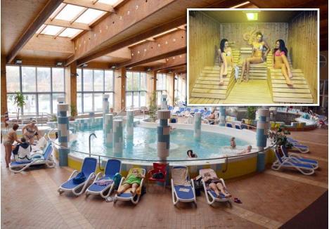 """PENTRU TOŢI. La Băile Gyopáros din Orosháza aveţi cum să vă relaxaţi: fie vă îmbăiaţi în piscinele interioare, fie în cele exterioare, cu apă termală, unde nu veţi simţi frigul nici în miezul iernii, fie vă răsfăţaţi în """"sauna-parc"""""""
