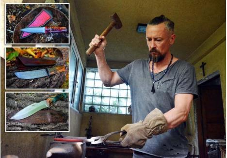 DE LA FORJĂ LA FINEŢE. Făurirea unui cuţit poate dura chiar şi o lună. Harris Wallmen (foto) nu ia nimic de-a gata, ci parcurge tot procesul, de la forjarea oţelului pentru lamă până la finisarea acesteia şi realizarea mânerelor cu design deosebit