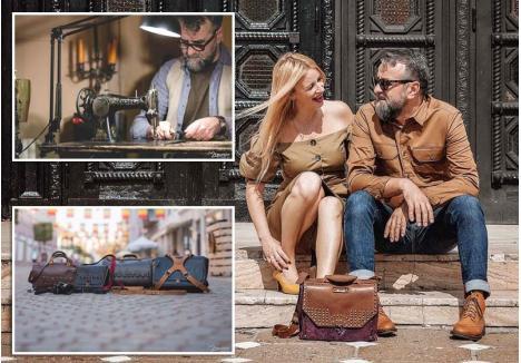 SUCCES ÎN DOI. Soţii Daciana şi Mircea Bule lucrează împreună la designul şi realizarea propriu-zisă a genţilor unicat, executate din piele italienească la o bătrână maşină de cusut Singer