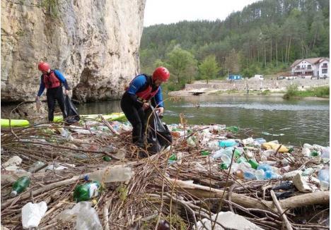 VOLUNTARI ÎN ZADAR. Voluntari de toate vârstele, majoritatea elevi, au cules în repetate rânduri gunoaiele din apa Crişului Repede, îndeosebi în zona Şuncuiuş, sperând că natura va rămâne curată, fără pungi şi PET-uri. De fiecare dată, degeaba...