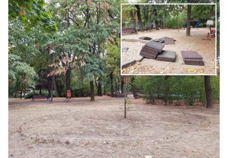 PARC FĂRĂ VIAŢĂ. În parcul Petőfi, nu există nici măcar o floare care să dea culoare, iar locul de joacă pentru copii este şi el serios avariat