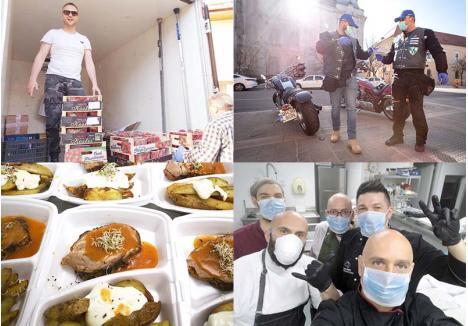 CHAPEAU! În ultima perioadă, în Bihor s-a văzut o mobilizare exemplară. Un tânăr din Beiuş, Dumitru Gal, a donat un TIR şi un microbuz cu legume şi fructe pentru orădenii cei mai încercaţi, poliţişti şi jandarmi călare pe motociclete livrează medicamente pentru cei care nu pot ieşi din case, iar o echipă de bucătari pregăteşte mese delicioase pentru medicii din linia întâi